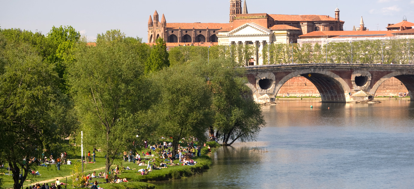 Riverside park in Toulouse with the Pont Neuf (new bridge) in the background